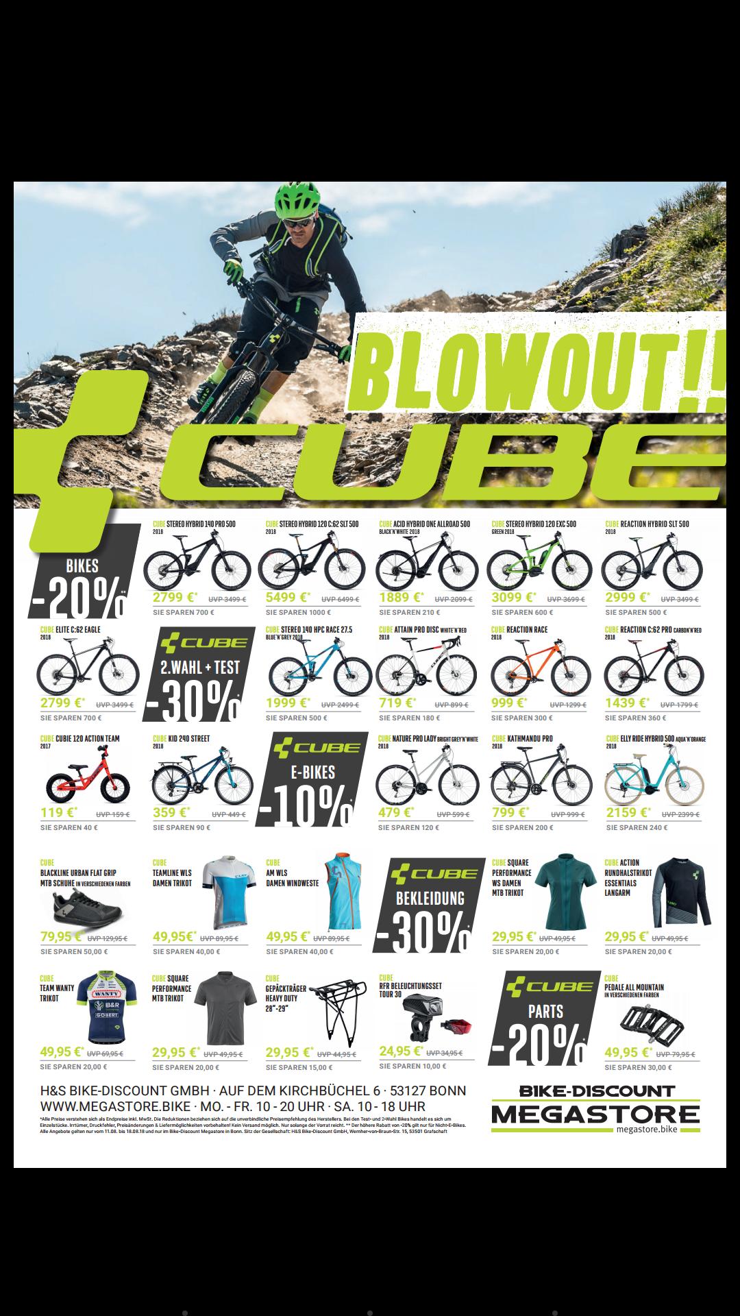 [Lokal] Megastore Summer Cube SALE Fahrräder eBikes, Mountainbike, Fahrrad
