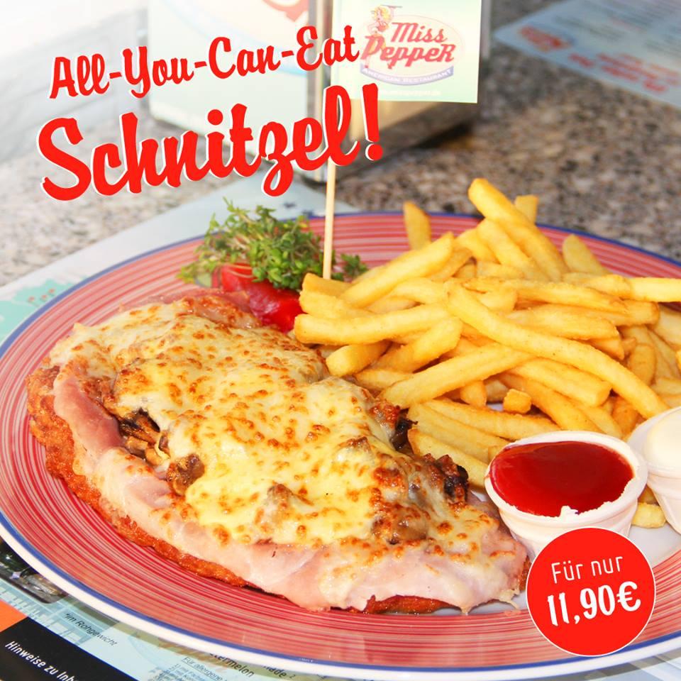 Schnitzel All You Can Eat bei Miss Pepper American Restaurants für 11,90€ am 13. & 14.08.2018