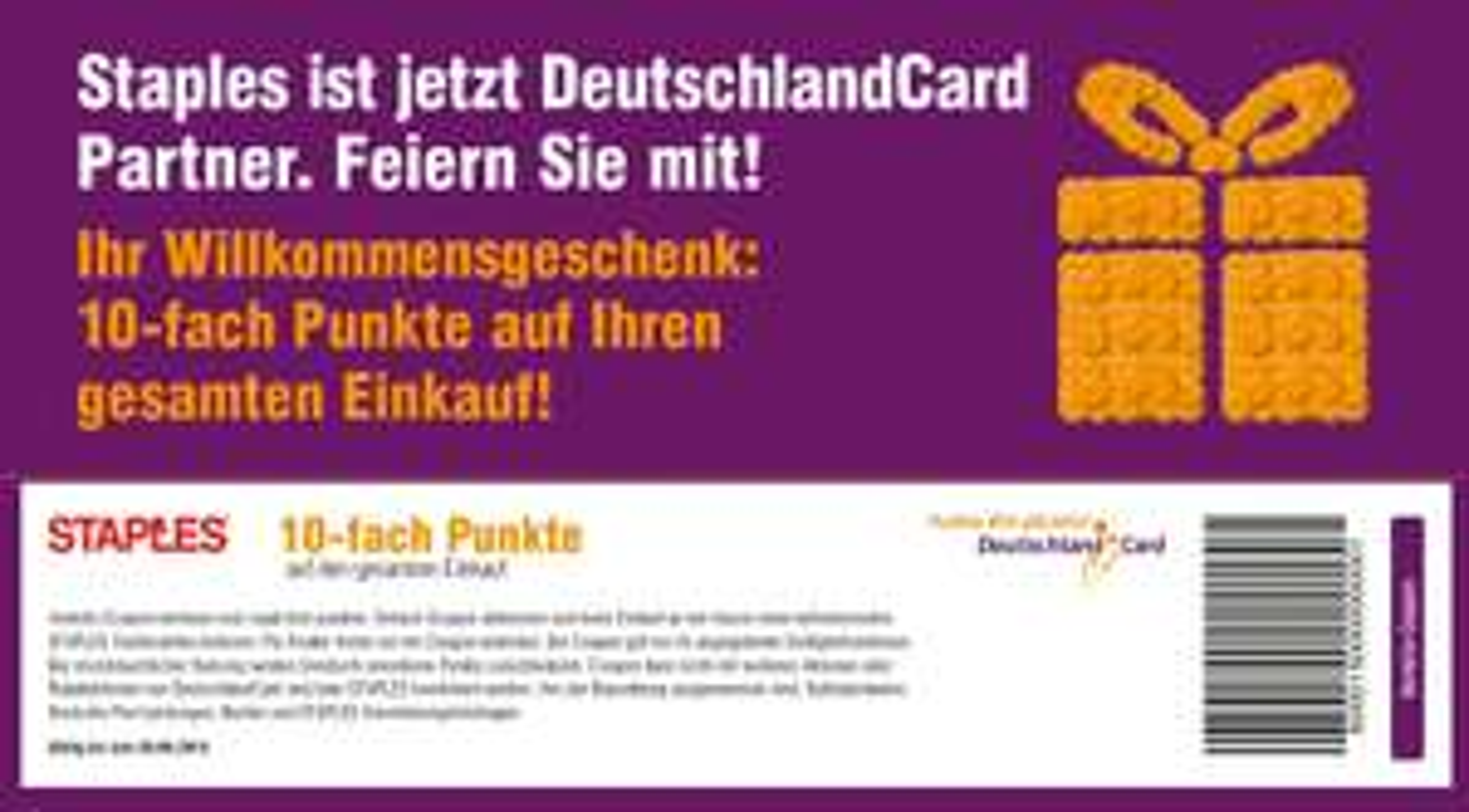 Deutschlandcard jetzt auch bei Staples, deshalb 10-fach Punkte Coupon