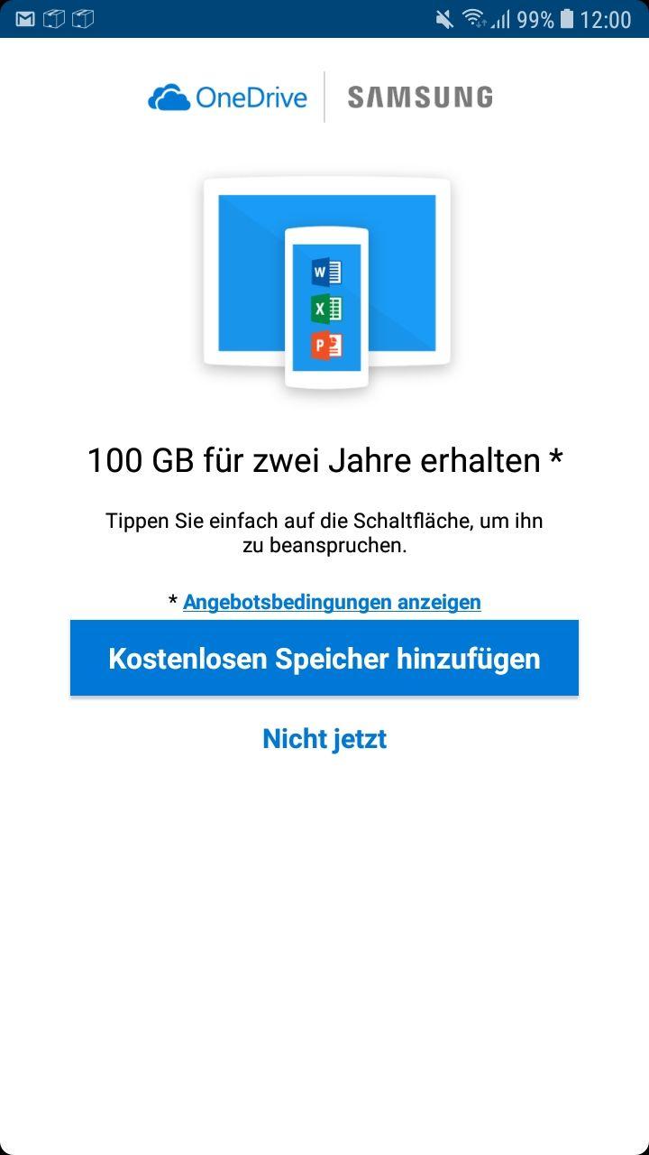 [Samsung][OneDrive Speicherplatz] Zusätzliche 100GB OneDrive Speicher für zwei Jahre kostenlos bei Download der OneDrive App auf eins Eurer Samsung Geräte