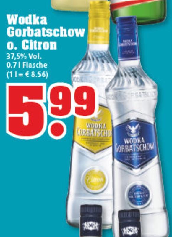 [trinkgut] Wodka Gorbatschow oder Citron 0,7 Liter 5,99 Euro