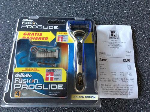 In vielen Kaufland Filialen: Gillette Fusion ProGlide Rasierer inkl. 5 Klingen für 8,99 Euro (wohl auch ein paar dm Filialen)