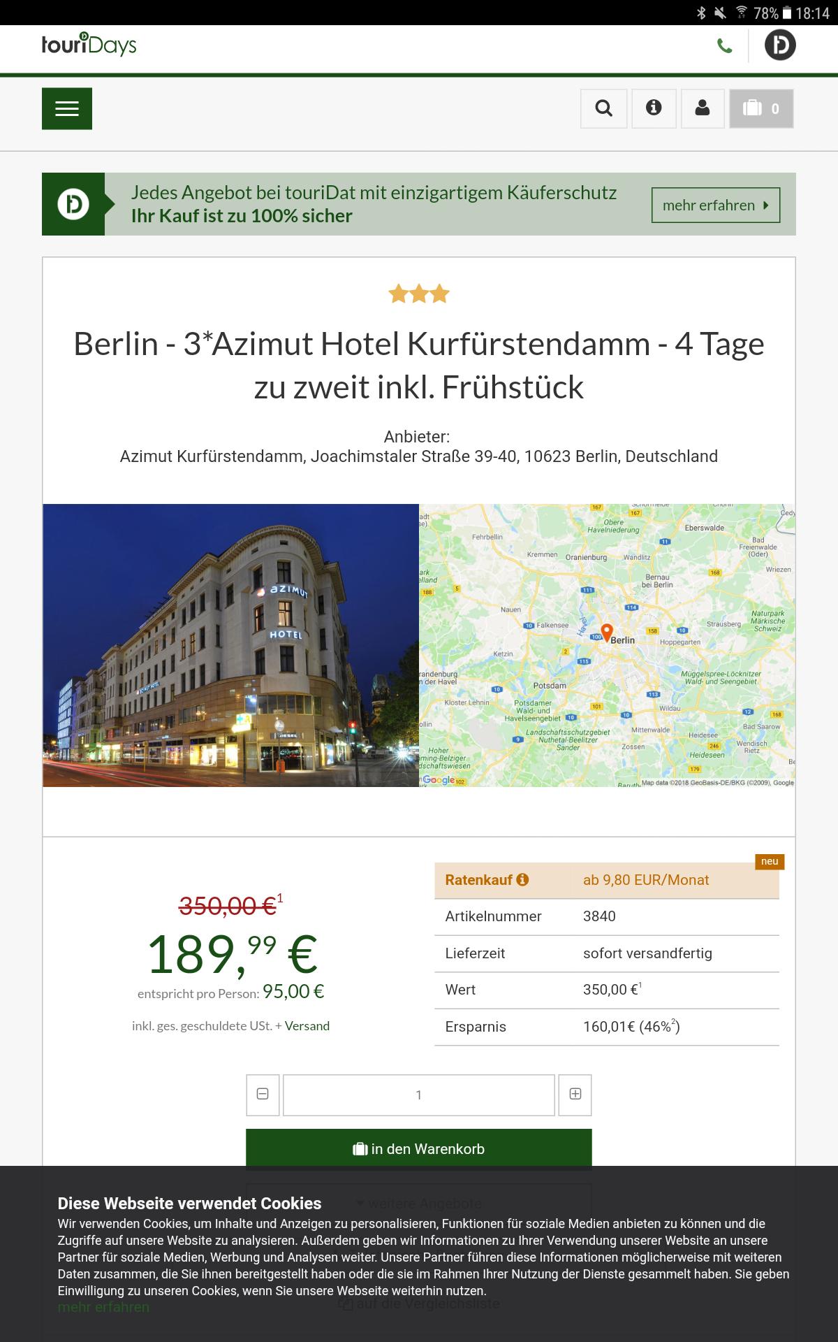 Berlin - 3*Azimut Hotel Kurfürstendamm - 4 Tage zu zweit inkl. Frühstück