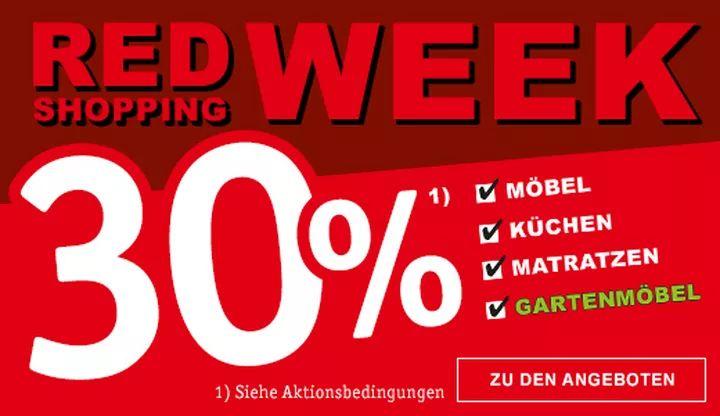 Red Shopping Week bei XXXLutz; nochmal 30% Rabatt auf Möbel, Küchen, Matratzen, Gartenmöbel