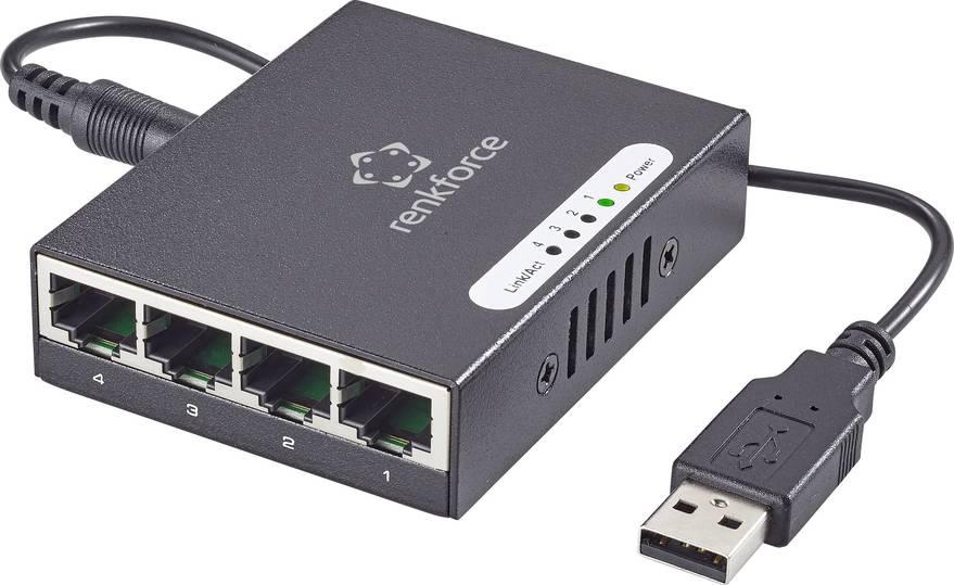 Renkforce 4 Port 1 Gbit/s RJ45 Netzwerk Switch mit USB-Stromversorgung (Digitalo)