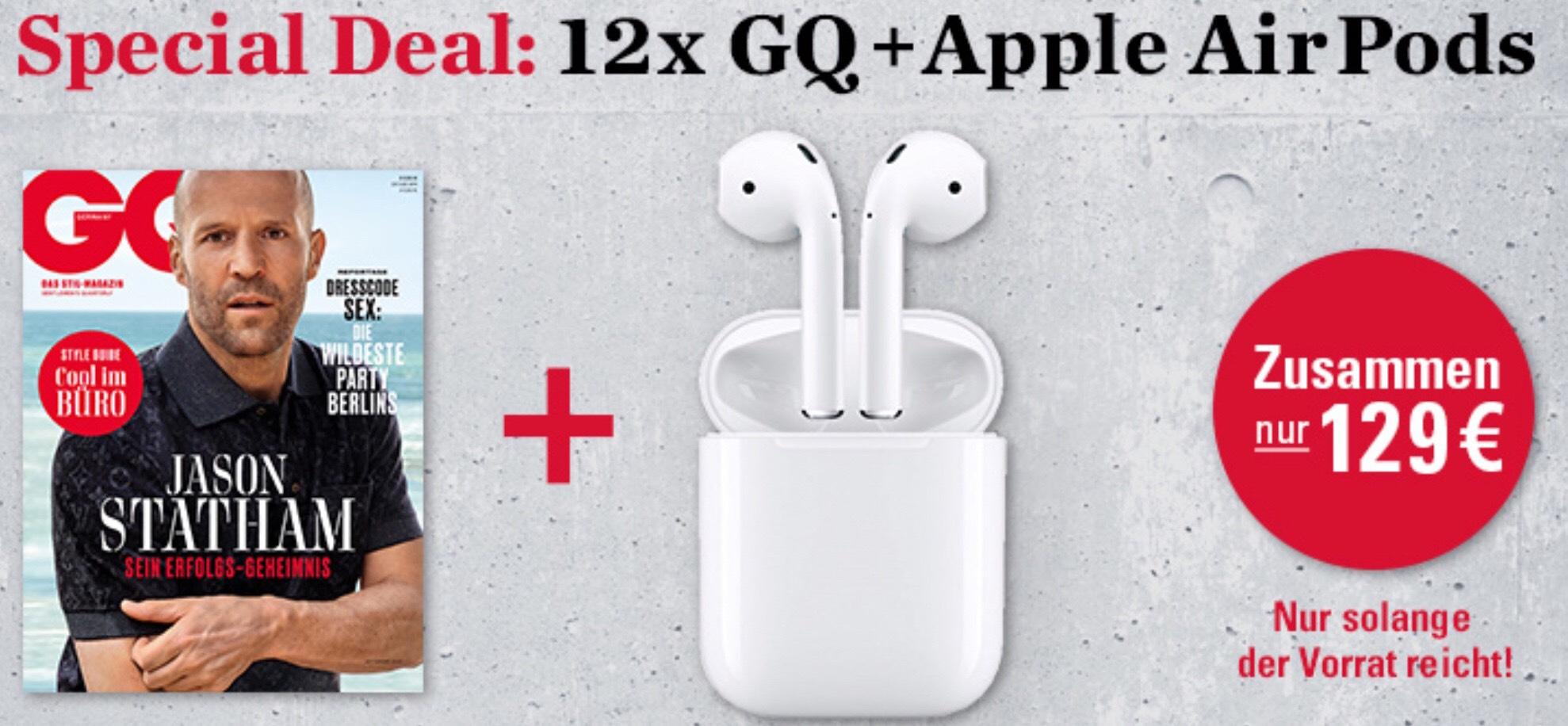 Apple AirPods inkl. 12 Monatsabo GQ für 129,-€