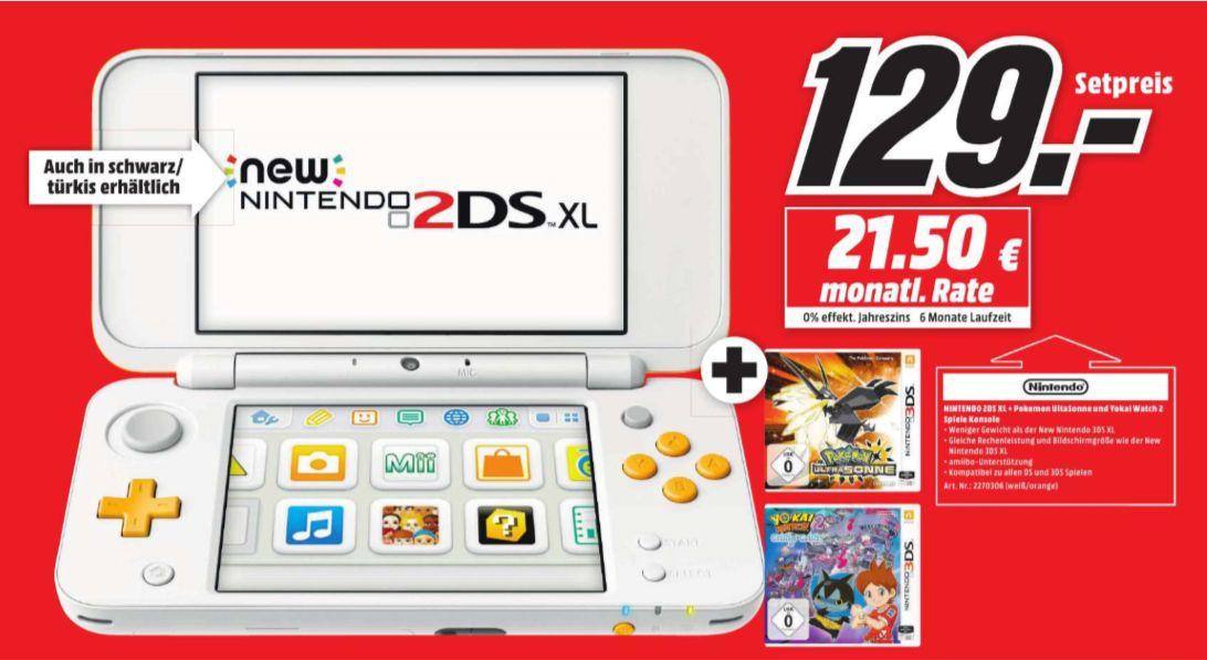 [Regional Mediamarkt 66538 Neunkirchen] Nintendo New 2DS XL weiß-orange oder schwarz-türkis jeweils inc. Pokémon: Ultrasonne + Yo-Kai Watch 2: Geistige Geister für je 129,-€