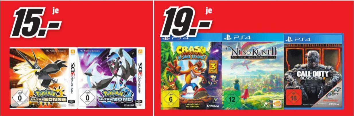 [Regional Mediamarkt Aalen,Ellwangen,Nördlingen,Heidenheim,Schwäbisch Gmünd ] Cod Black Ops 3 Zombies Edt./ Nino Kuni II / Crash Bandicot N´Sane (PS4) für je 19,-€ // Pokemon Ultrasonne und Ultramond für je 15,-€