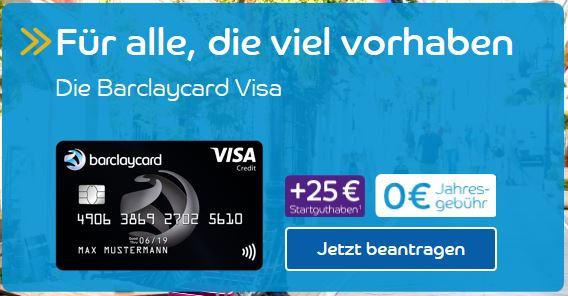 Weltweit kostenlose Barclaycard Visa (nicht New Visa) mit 25€ Startguthaben - Neukunden