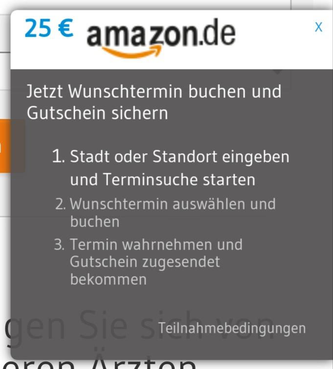 25€ Amazon-Gutschein bei Buchung (und Wahrnehmung!) eines Zahnarzttermines über arzttermine.de (Neukunde in der Praxis)