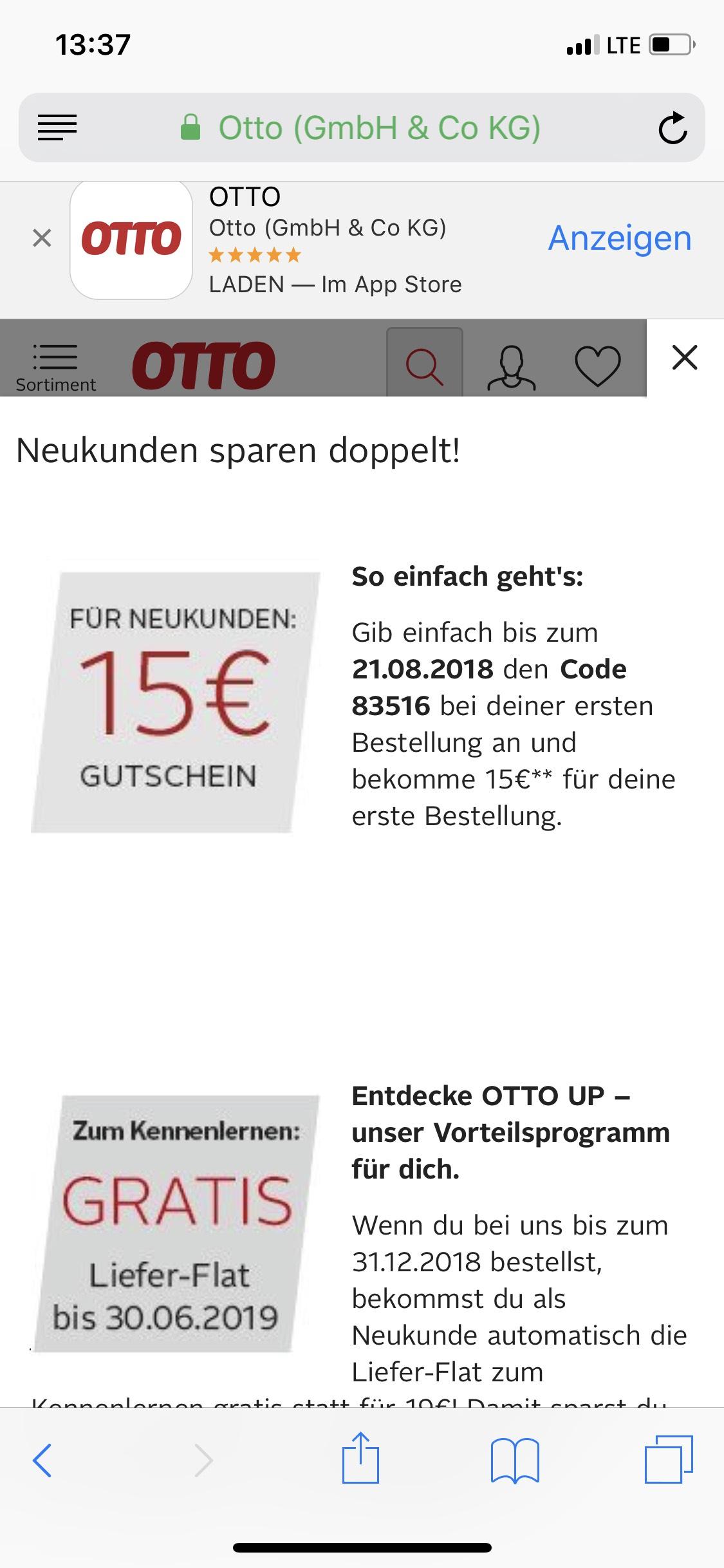 Otto 15 Euro Gutschein für Neukunden und Bestandskunden
