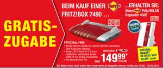 [Metro] AVM FRITZ!Box 7490 + FRITZ!WLAN Repeater 450E (30.08. - 05.09.)