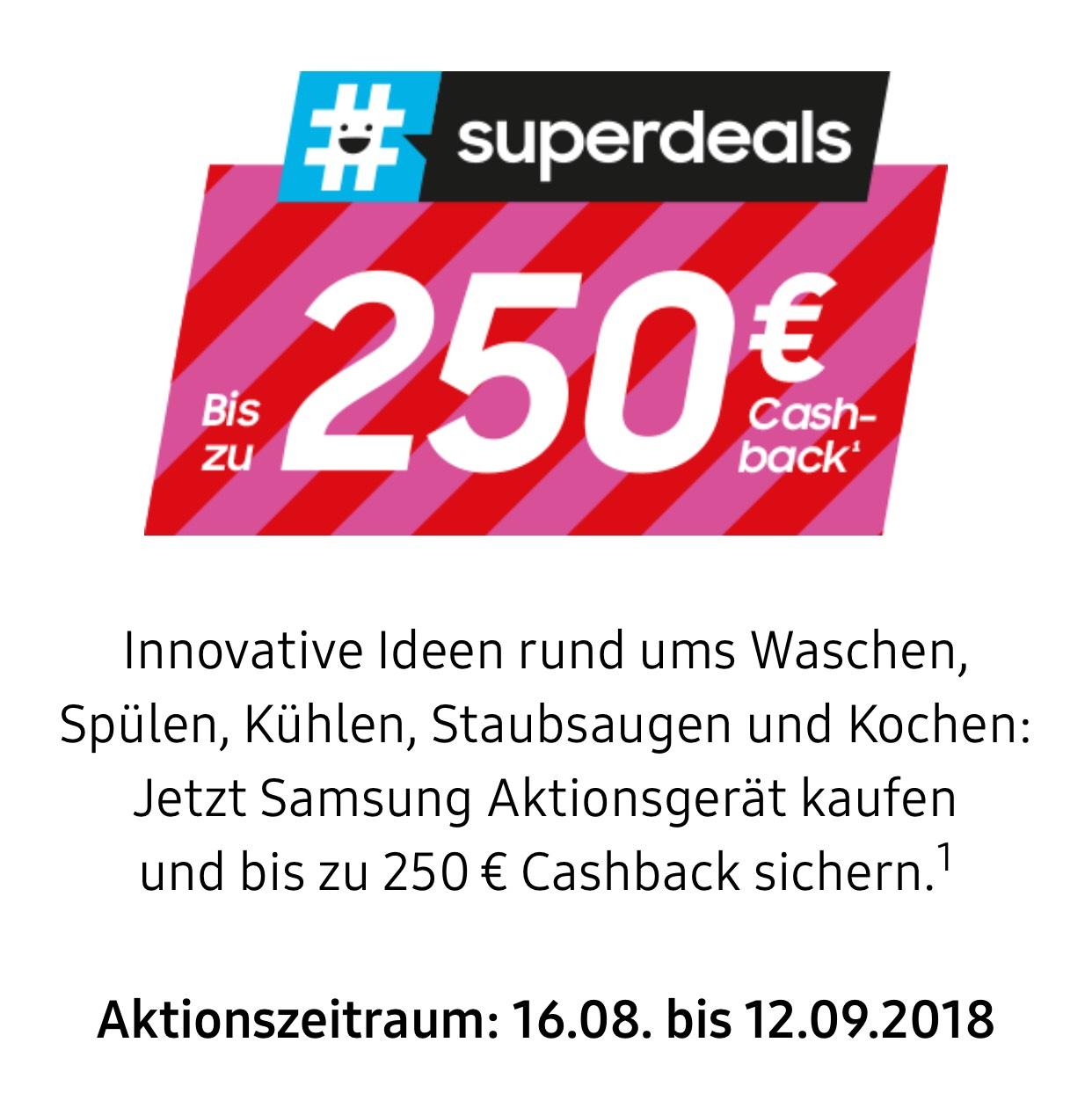 Samsung Hausgeräte-Cashback-Aktion vom 16.08. bis 12.09.2018