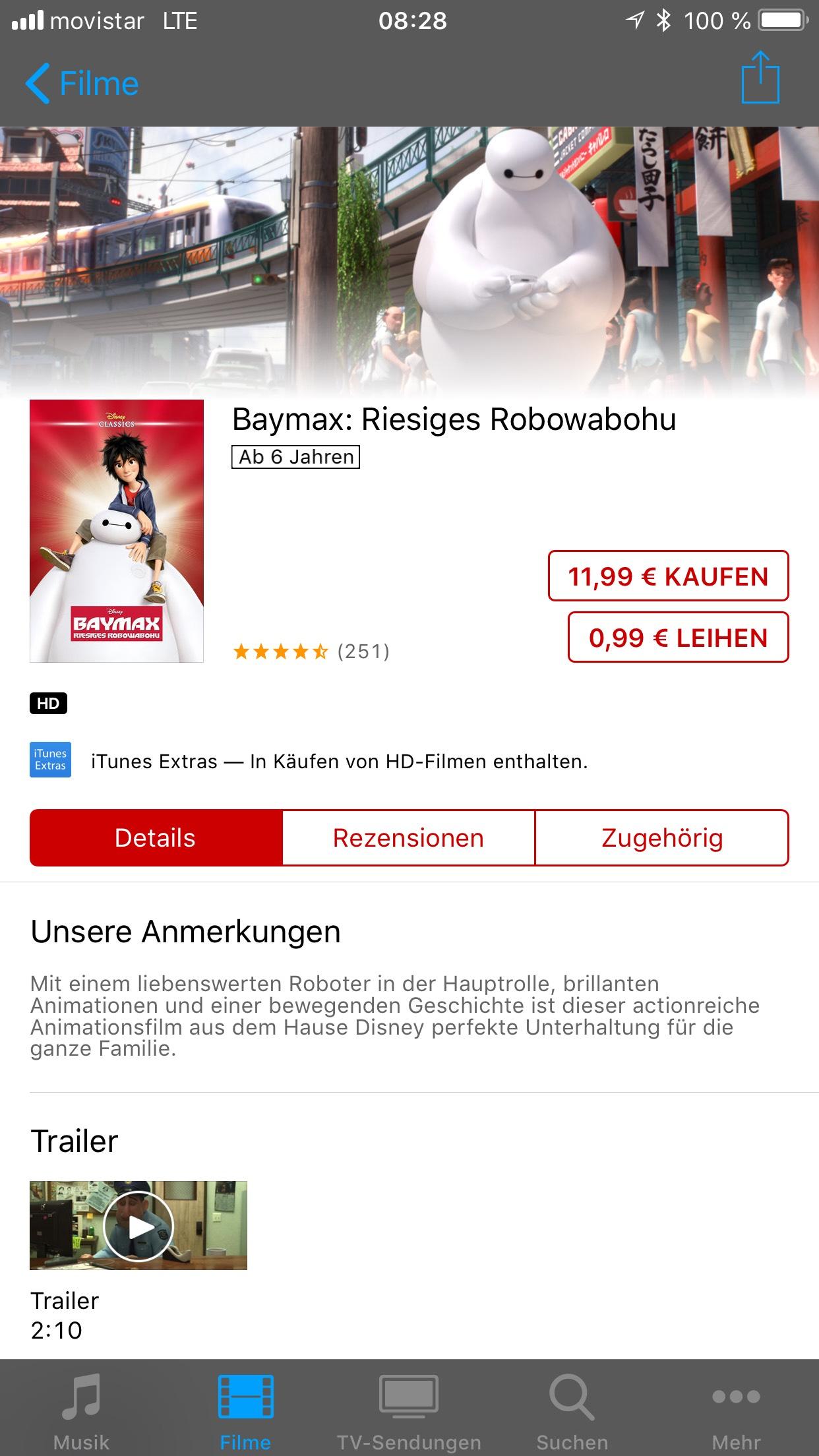 [iTunes] Baymax: Riesiges Robohwabohu  HD für 0,99 Cent zum leihen