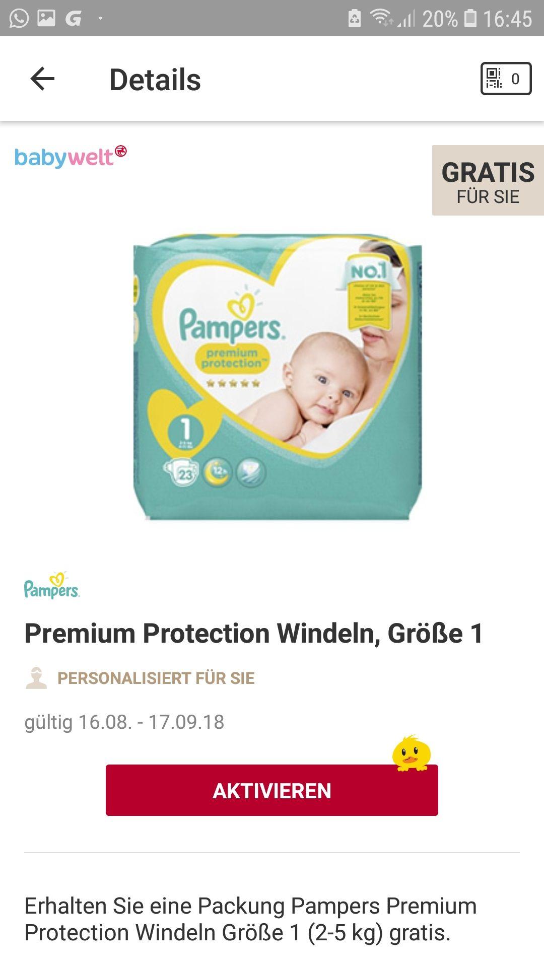 Rossmann App+Babywelt 1x Pampers (Orginal) gratis +1 x babydream windeln Gratis + 1 x Handcreme Gratis