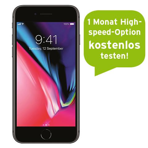 Congstar Allnet Flat (ein Monat kostenlos Highspeed) mit Apple iPhone 8 für nur 249€ Zuzahlung