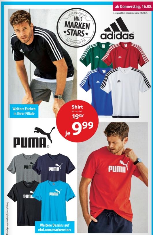 Adidas oder Puma Shirt - Diverse Farben/Modelle für je 9,99€ @ NKD off-/online