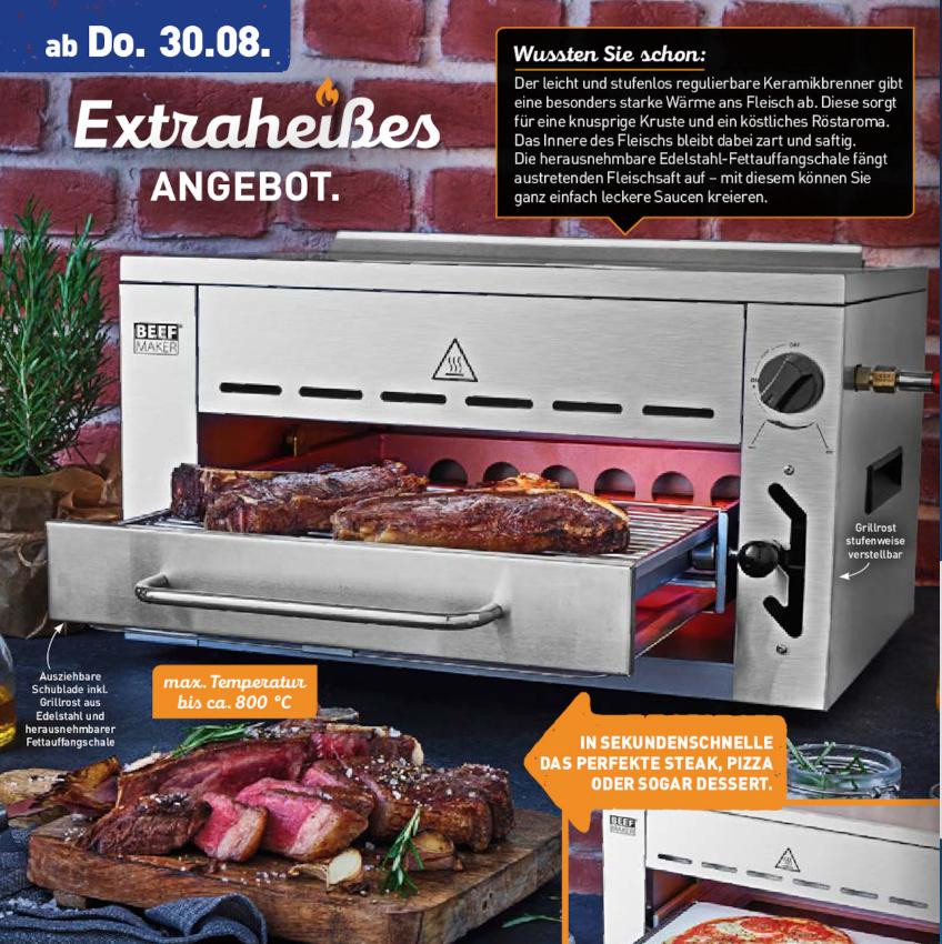 """[ALDI Nord] """"Beef Maker"""" Hochtemperaturgrill bis 800°C (ab 30.08.) - ähnlich wie Beefer"""