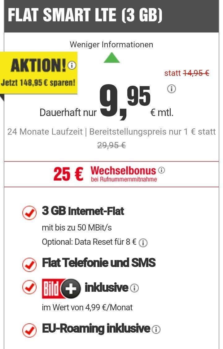 FLAT SMART LTE (3GB) inkl. Telefonie & SMS + BildPlus für 9,95€ mtl.
