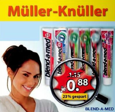 Müller-Drogerie: Perlweiss, Parodontax, Curaprox GS, Blend-A-Dent Zahncremes