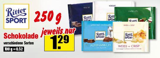 Krümet (Norddeutschland) Ritter Sport vers. Sorten 250 g Tafel ab 22.08.2018 für 1,29 €