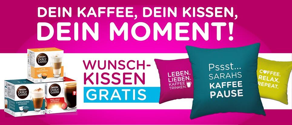 """Personalisiertes Wunschkissen GRATIS - NESCAFÉ® Dolce Gusto® Aktion """"Dein Kaffee, Dein Kissen, Dein Moment"""""""