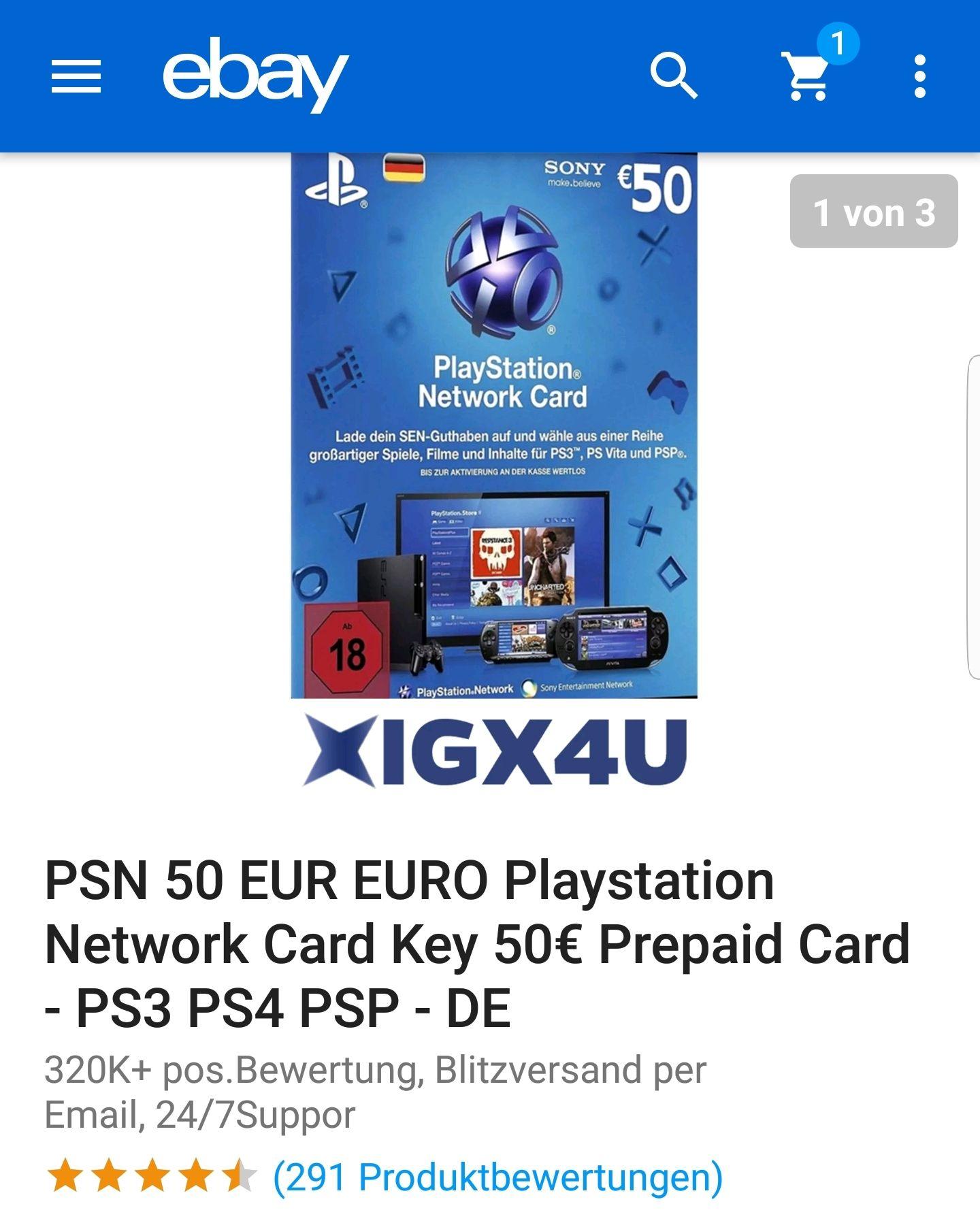 50€ PSN Guthaben für nur 38,63€ auf eBay