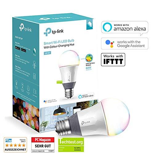 TP-Link LB130 Smarte RGB WLAN LED Lampe (E27, 11W, funktioniert mit Amazon Alexa, Echo, Echo Dot, Google Home und IFTTT, Farbwechsel, dimmbar, kein Hub erforderlich)