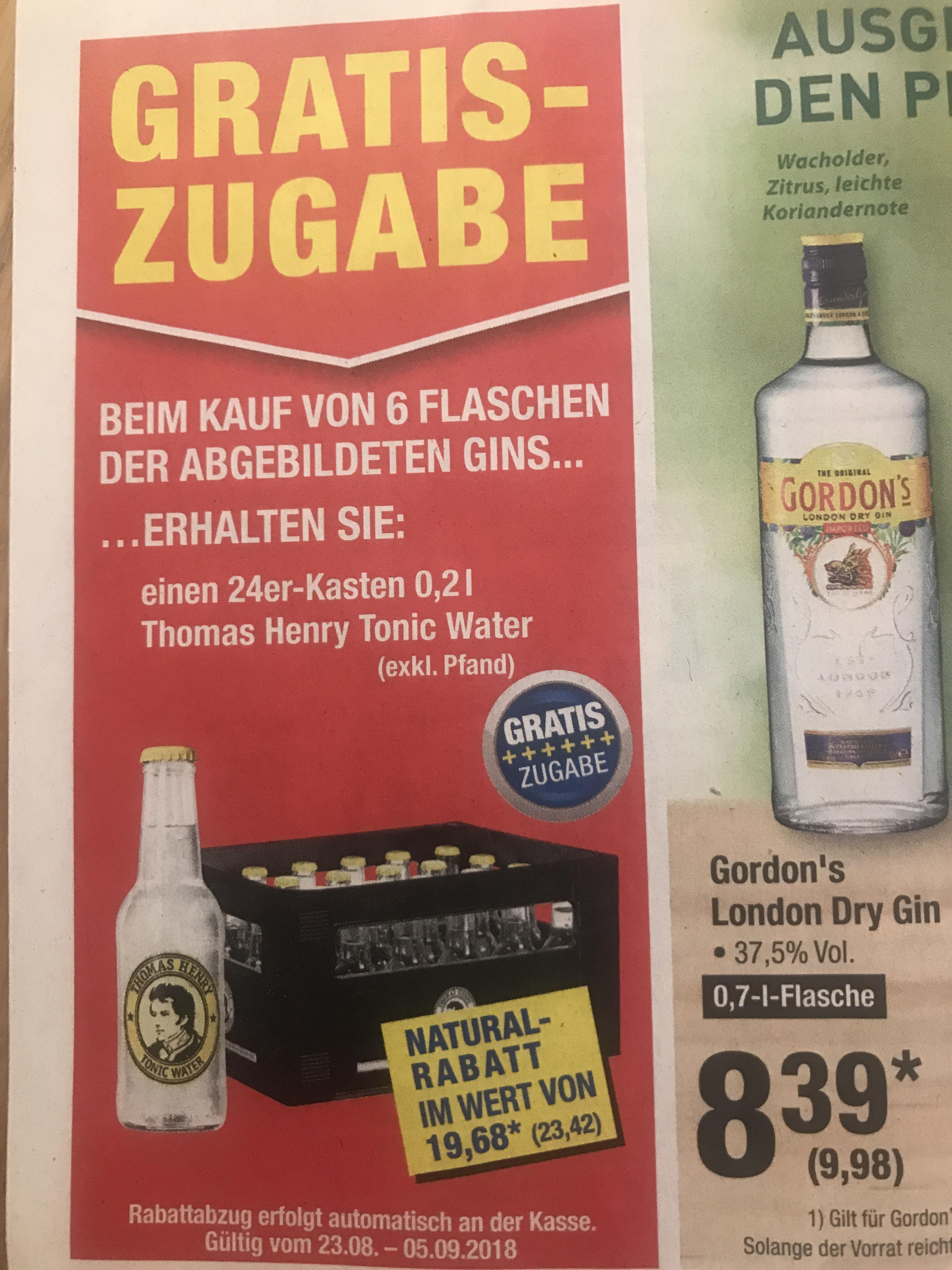 [Metro] 6x Gordon's London Dry Gin + Kasten(24x0,2) Thomas Henry Tonic für 59,88 € + Pfand 4,64€