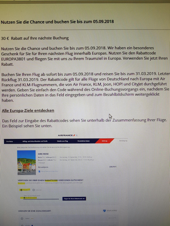 Air France 30,- € Rabatt auf Flüge innerhalb Europas gilt wohl auch für KLM