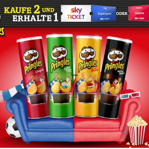 REWE 2x Dosen Pringles kaufen (2x1,29€) + 1 sky Ticket (Cinema oder Sport) für Neukunden