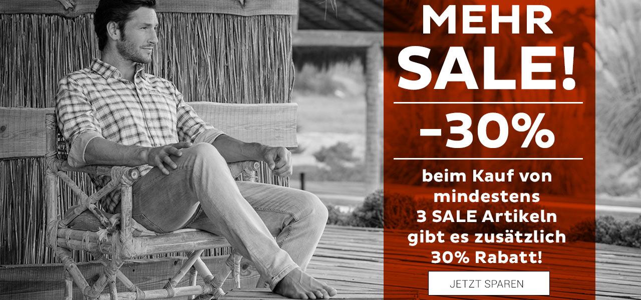 30% extra Rabatt beim Kauf von mind. 3 Sale Artikeln | Shirts, Polos, Hemden, Blusen, Pullies, Jacken, Hosen, Shorts usw. in versch. Größen noch erhältlich