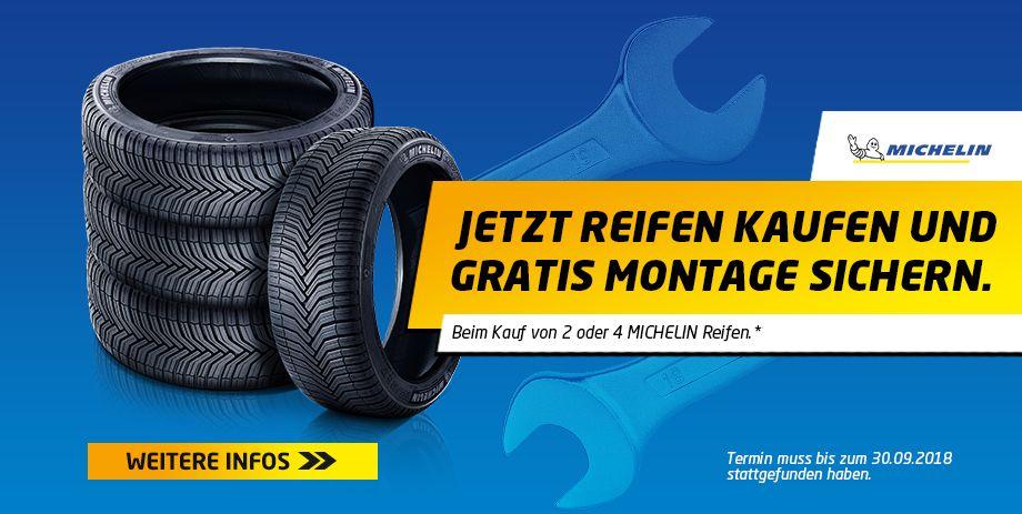 Kostenlose Montage bei Euromaster beim Kauf von 2 oder 4 Michelin-Reifen im Online-Shop