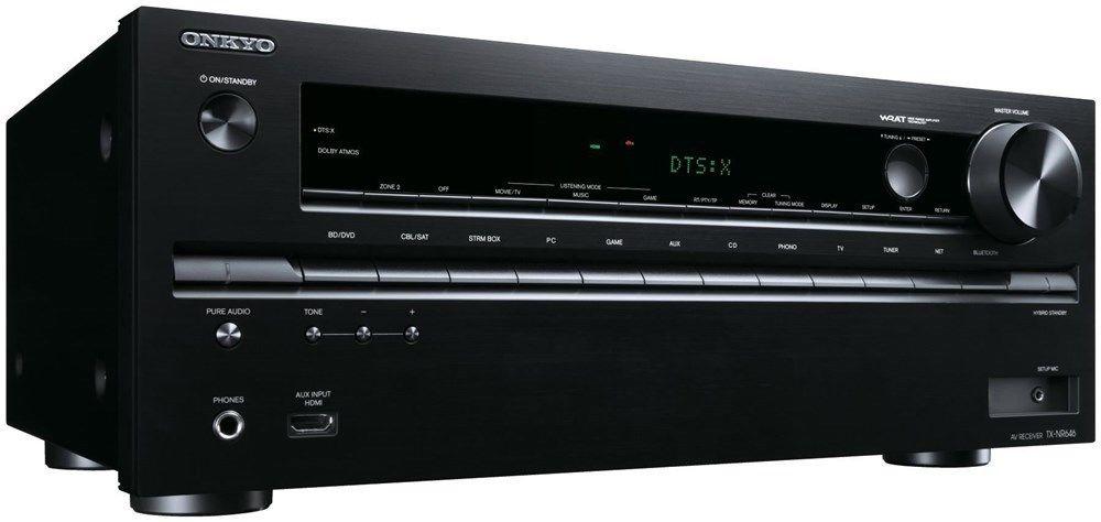 Onkyo TX-NR646 (B) 7.2-Kanal Netzwerk-AV-Receiver (DTS:X, Dolby Atmos, AccuEQ, 160 Watt, 8x HDMI In, 2x HDMI Out, WiFi, Bluetooth, AirPlay, Spotify, DLNA) schwarz [computeruniverse@eBay]