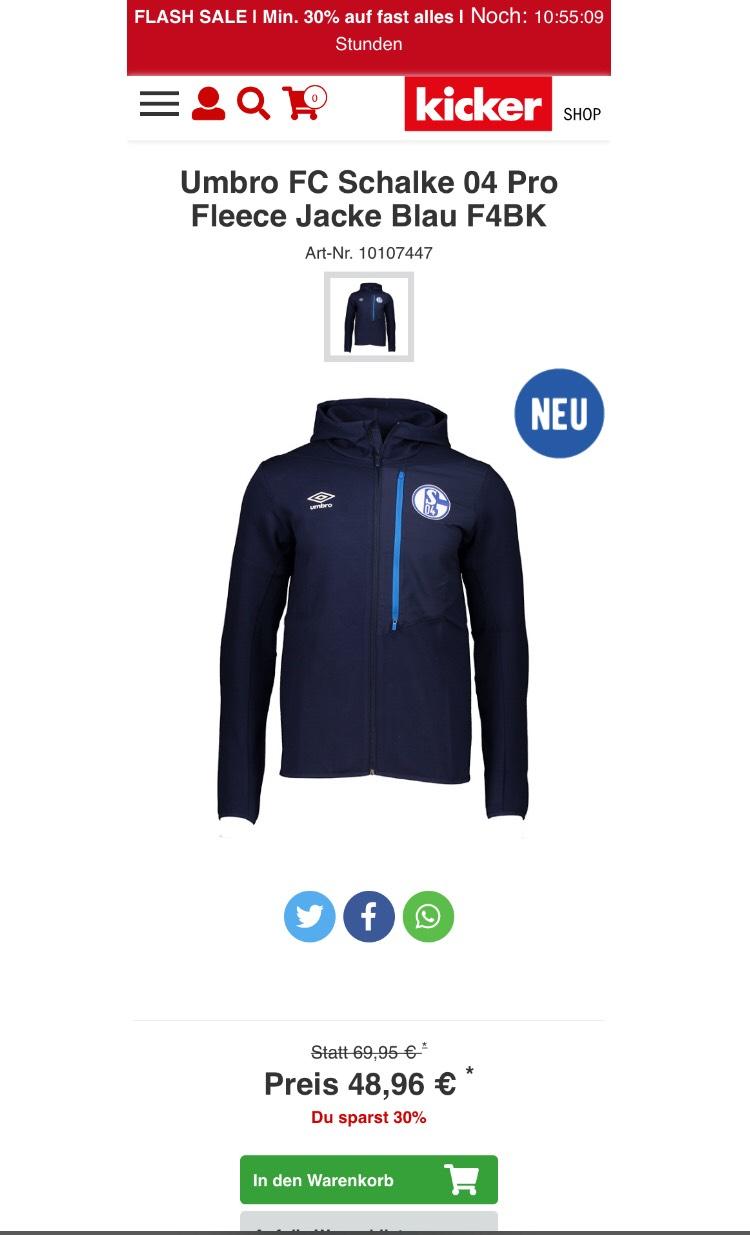 Umbro FC Schalke 04 Pro Fleece Jacke Blau F4BK Größe S-XL