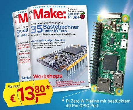 2 Ausgaben des Make Magazins & Raspberry Pi Zero WH portofrei für 13,80 €