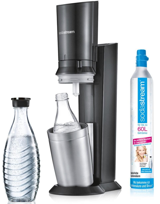 Sodastream Wassersprudler Crystal 2.0 titan inkl. Zylinder u. Glaskaraffe für 79,99€ mit Check24 Gutschein