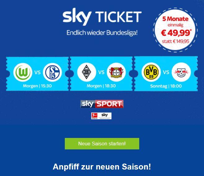 [Sky Ticket Sport] Bestandskunden: 49,99€ für 5 Monate