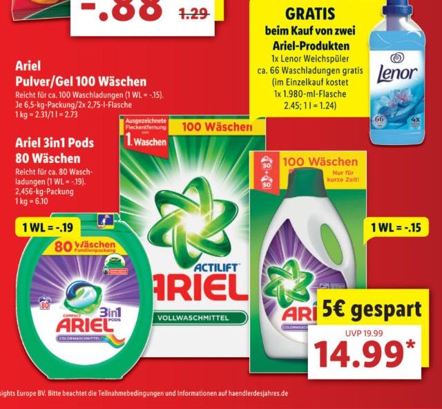 [Lidl] Ariel Pulver/Gel (100 Wäschen), 3in1Pods (80 Wäschen) + gratis Lenor Weichspüler (beim Kauf von 2 Ariel-Produkten)