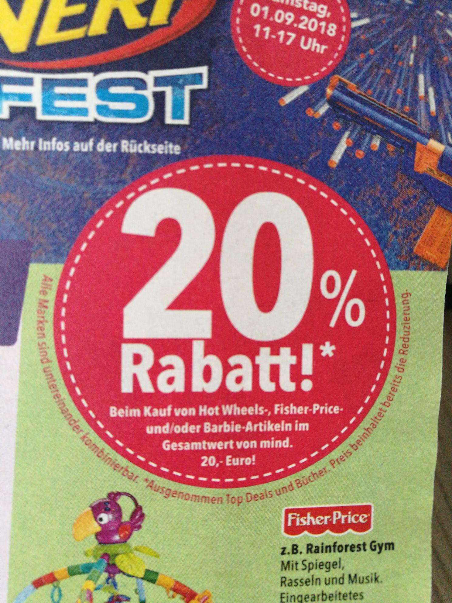Toys R Us: 20% Rabatt ab 20€ Einkauf auf Hot Wheels, Fisher Price oder Barbie Artikel