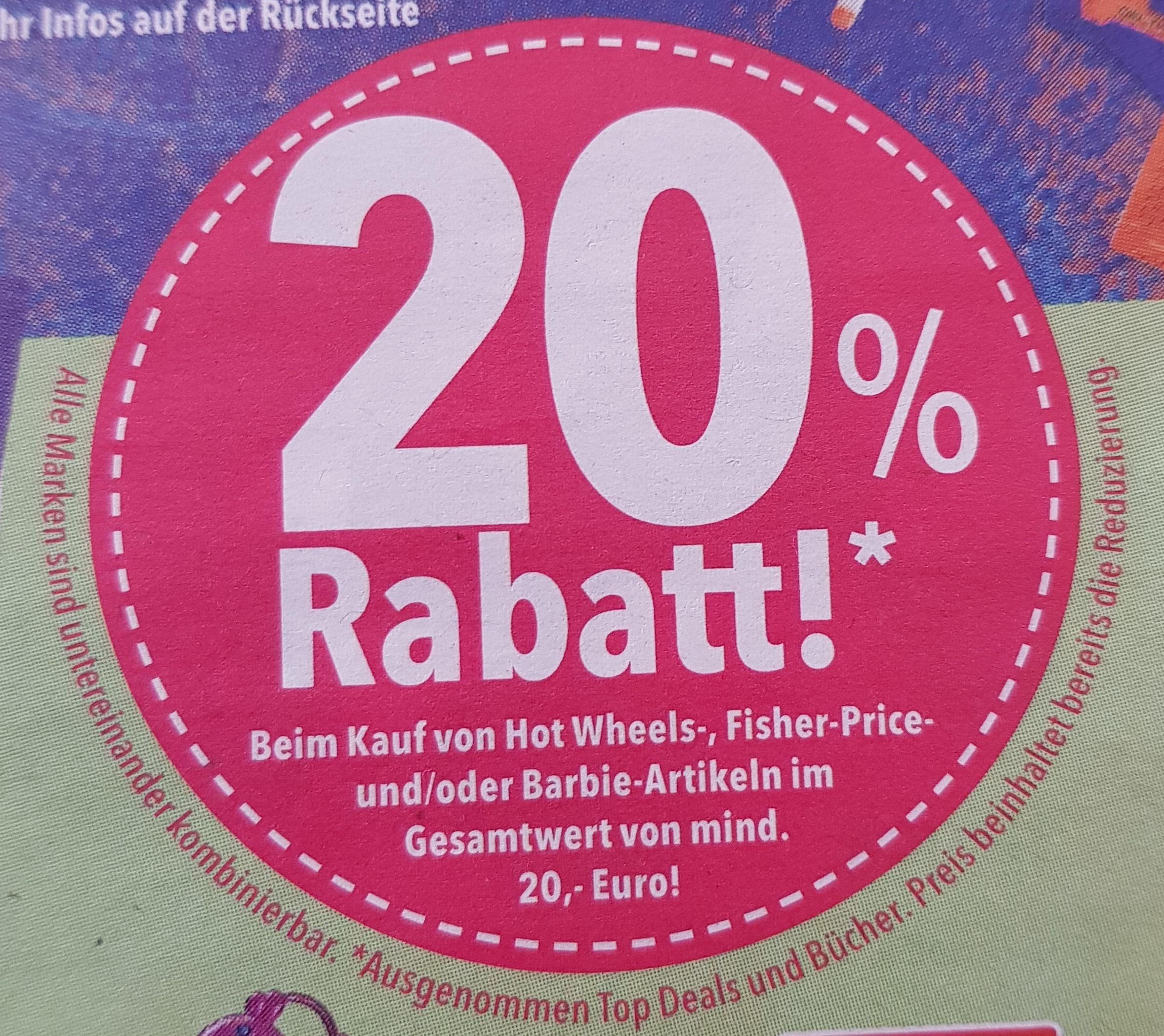 20% Rabatt beim Kauf von Hot Wheels-, Fischer-Price-und/oder Barbie-Artikeln im Gesamtwert von mind. 20 Euro! [Toys R Us]