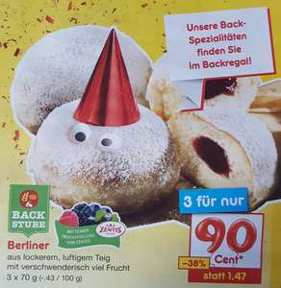 Netto Marken-Discount ab Montag: 3 Berliner (Krapfen, Pfannkuchen, ...) für nur 90 Cent