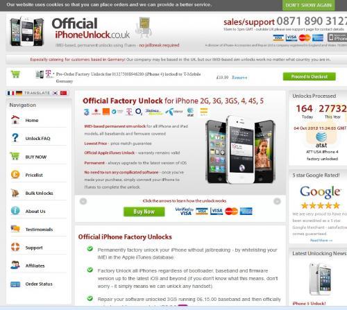 iPhone 2G, 3G, 3GS, 4, 4S, 5 Unlock für ab 23,99 Pfund in UK