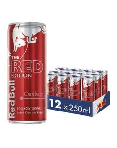 Red Bull Energy Drink Cranberry 12 x 250 ml Dosen Getränke Red Edition 12er Palette, verkürztes MHD inkl Pfand