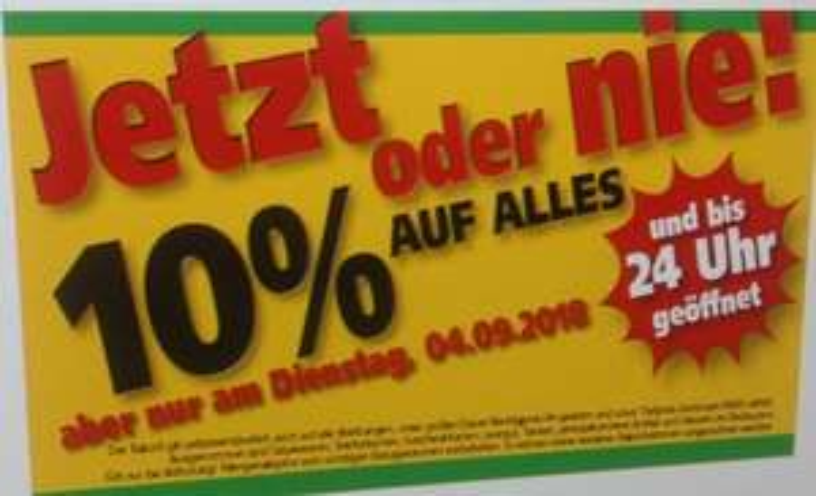Handelshof 10% Rabatt auf alles, nur am 04.09.18.