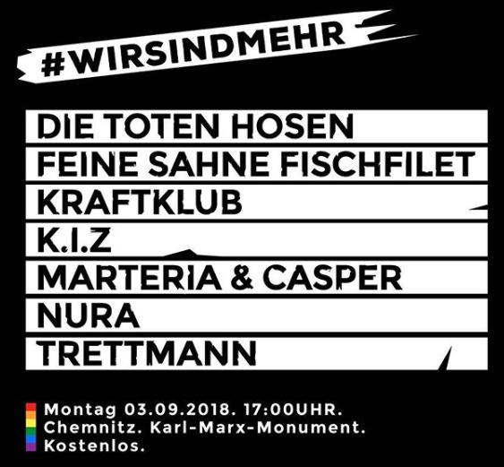(Lokal Chemnitz) Die Toten Hosen, Casper & Marteria, Trettmann, K.I.Z., Nura, Kraftklub ##### Gratis Konzert (Montag am Karl-Marx-Kopf)