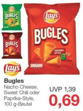 [Jawoll] Lay's Bugles Nacho Cheese, Sweet Chilli oder Paprika-Style für 0,69 Euro