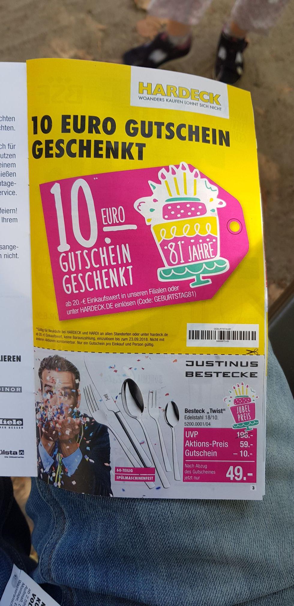 Möbel Hardeck 10 Euro Gutschein bei 20 Euro Mindestbestellwert