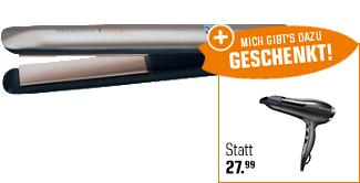 [saturn] Remington S 8540 Keratin Protect Glätteisen (50 Watt, Beige) & Remington D5220 Pro Air Turbo Haartrockner (2.400W) für 29€