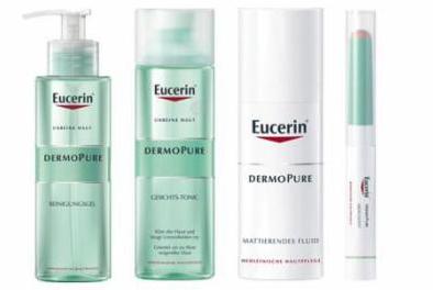 Eucerin Dermopure Aktionsset mit Reinigungsgel, Abdeckstift, mattierendem Fluid und Gesichtstonic